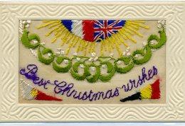 MILITARIA - Carte Pochette Brodée - Best CHRISTMAS Urshes Soleil, Aux Couleurs Des Drapeaux Des Alliés - Brodées