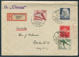 1935 Registered Schiffspost Afrikadienst, Hamburg Ostafrika Linie UBENA Ship Cover. Antwerpen Belgium, Berlin. - Deutschland