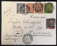 Lettre Cover Guyane 1902 Quadricolore Recommandé N°30, 31, 36 & 37 25c Pour Haguenau (Alsace/allemagne !!) Signé Baudot - Guyane Française (1886-1949)