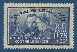 FRANCE 1938 - YT N°402 - 1 F. 75 + 50 C. Outremer - Pierre Et Marie Curie - Découverte Du Radium - Neuf** - TTB Etat - Nuovi