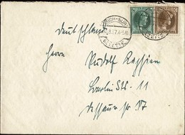 1937  Lettre Cachet Esch-sur-Alzette 11.8.1937, Timbres Charlotte Michel:189,225, 2Scans - Luxembourg