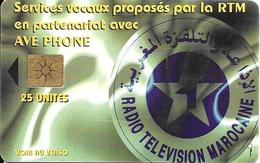 CARTE+PUCE-MAROC-AVE PHONE-25U-GEM B- RADIO TELEVISION-UTILISE-TBE- - Maroc