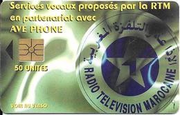 CARTE+PUCE-MAROC-AVE PHONE50U-GEMA- RADIO TELEVISION-UTILISE-TBE - Maroc