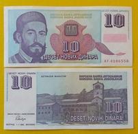 YUGOSLAVIA 10 Novih Dinara 1.1.1994  AUNC Pick 147 Prefix AF - Joegoslavië