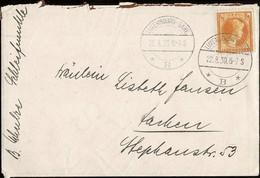 1930  Lettre Cachet Luxembourg-Gare 22.8.1930, Timbre Charlotte Profil 1 1/4Fr Jaune , Michel:225 - Luxembourg