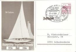 GERMANY Olympic Stationery Card Cancel 50 Years Sailing Olympic Games Kiel 1936 - 1986 - Summer 1936: Berlin