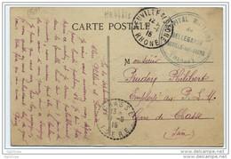"""Cachet Pas Courant """"Hopital Militaire De Bellegarde Neuville Sur Saone"""" 1915 Frappe Superbe C'est HB44bis 41 Lits - WW I"""