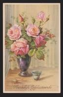 General Greetings - Roses In Vase Dutch Card - Used 1951 - Greetings From...