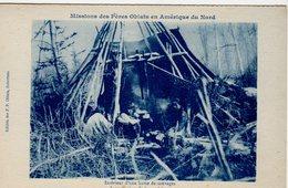 NWT, Canada, Missions Des Peres Oblats En Amerique Du Nord, Interior Hutte (Tee Pee) De Sauvages, 1916? Postcard - Other