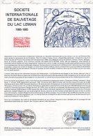 """"""" FRANCE - SUISSE / LAC LEMAN """" Sur Document Philatélique Officiel De 1985  N° YT 2373 + Suisse N° YT 1221. DPO - Joint Issues"""