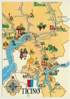 AK  Map Ticino Tessin - Landkarten