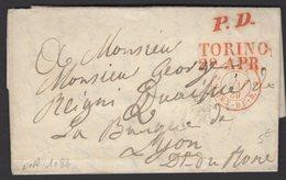 Pli De TURIN De 1838 En Port Payé Avec Cachet TORINO 29 APR + PD + SARD. 2 PONT DE B. P LYON - Marcophilie (Lettres)