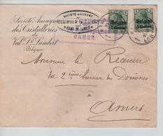 JS591/Guerre-Oorlog 14-18 TP Oc 2(2) S/L.Entête Cristalleries Val St.Lambert Usine Jambes C.Namur 1915+censure V.Anvers - WW I