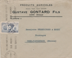 France Timbre N°297 Seul Sur Lettre Pour La Suisse 1935 - Marcophilie (Lettres)