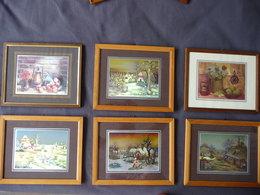 LOT De 8 Petits TABLEAUX DECORATIFS  Dim: 16X20 & 26X32cm ENCADRES - Autres Collections