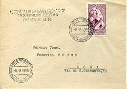 40075 Italia, Special Postmark Roma 1955 Assemblea Int.regno Trionfante Testimoni Geova,Jehovah Witnesses,RR - Christianity