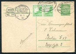 1935 DR Deutsche Seepost Hamburg Sudamerika MONTE PASCOAL H.S.D.G. Ship Schiffspost Stationery Postcard.Koln Bahnpost - Deutschland