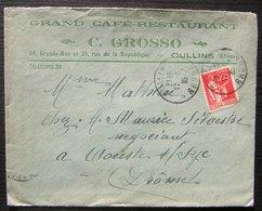 Oullins (Rhône) 1935 Grand Café Restaurant C. Grosso 68 Grande Rue Et 35 Rue De La République - Marcofilia (sobres)