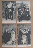 """11/108-Ph Prince, Royer Nancy  5cpa """"2 Coqs Vivaient En Paix...une Poule Survint""""  Voy 1906 - Fantaisies"""
