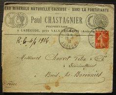 Labégude Près Vals Les Bains (Ardèche) 1916 Paul Chastagnier Eau Minérale Gazeuse Source La Fortifiante - Marcophilie (Lettres)