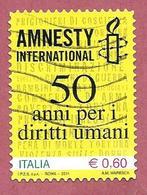 ITALIA REPUBBLICA USATO - 2011 - 50º Anniversario Di Amnesty International -  € 0,60 - S. 3235 - 2011-...: Usados