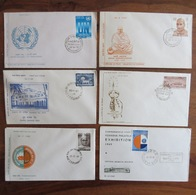 INDE - INDIA - Lot 6 Enveloppes FDC Années 1969 & 1970 - Shraddhanand United Nations Nalanda College - Nagpur 1er Jour - FDC