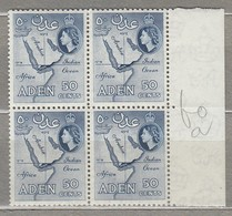 ADEN 1956 Map 4 X Block Perf 12x13.5 MNH (**) Mi 67c, SG 59a #23200 - Aden (1854-1963)