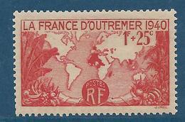 FRANCE 1940 - YT N°453 - 1 F. 25 Rouge - Pour La France D'Outre-Mer - Carte De L'Empire Français - Neuf** - TTB Etat - France