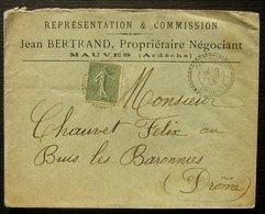 Mauves (Ardèche) 1905 Cachet Tireté Sur Lettre De Jean Bertrand Propriétaire Négociant Représentation & Commission - Marcophilie (Lettres)