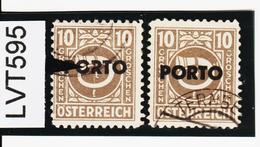 """LVT595 ÖSTERREICH 1946 Michl PORTO 193 PLATTENFEHLER """"O"""" GEBROCHEN Gestempelt - Abarten & Kuriositäten"""