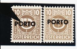 """LVT597 ÖSTERREICH 1946 Michl PORTO 193 PLATTENFEHLER """"O"""" DÜNN ** Postfrisch - Abarten & Kuriositäten"""