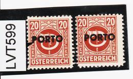 """LVT599 ÖSTERREICH 1946 Michl PORTO 196 PLATTENFEHLER """"P"""" VOLL ** Postfrisch - Abarten & Kuriositäten"""