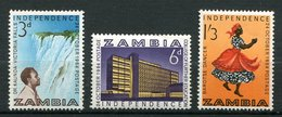 Zambie ** N° 1 à 3 - Indépendance - Zambia (1965-...)