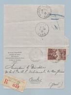 N° 390 Sur Carte Lettre De L' Ille Vers Aulas 12/10/38 Recouvrement De Créances - 1921-1960: Periodo Moderno