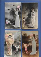 Lot 4 Femmes Artistes Et Bébés Angelots - Photo REUTLINGER - Fantaisies