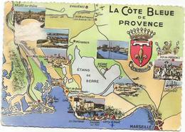 V2903 La Cote Blue De Provence - Carte Geographique Map Carta Geografica / Viaggiata 1957 - Carte Geografiche
