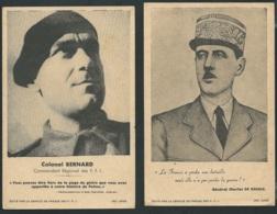 Lot De 2 Cartes Illustrées Taille Cpa , Propagande F.F.I  , Colonel Bernard Et Général Charles De Gaulle -  AM221 - Historical Documents