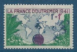 FRANCE 1941 - YT N°503 - 1 F. + 1 F. Vert, Lilas Et Bleu - Pour La France D'Outre-Mer - Neuf** - TTB Etat - France