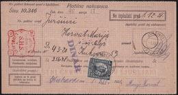 Juršinci, Money Transfer Form, Definitive Stamp Provisionaly Used As Postage Due, 1921 - 1919-1929 Königreich Der Serben, Kroaten & Slowenen
