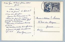 N° 1015 Sur CP De Aix Les Bains Vers Genève 9/4/55 - Postmark Collection (Covers)