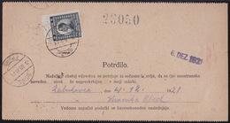 Griže, Money Transfer Form, Definitive Stamp Provisionaly Used As Postage Due, 1921 - 1919-1929 Königreich Der Serben, Kroaten & Slowenen