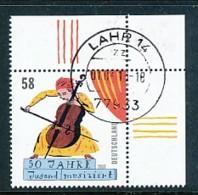 GERMANY Mi.Nr. 2991 50 Jahre Wettbewerb -Jugend Musiziert  - Eckrand Oben Rechts - Used - Oblitérés