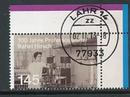 GERMANY Mi.Nr. 3038 100. Jahrestag Der Verleihung Des Professorentitels An Rahel Hirsch - Eckrand Oben Rechts - Used - BRD