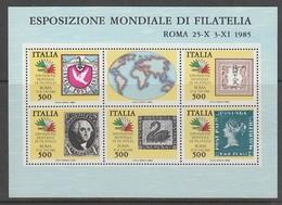 BLOC NEUF D'ITALIE - TIMBRES SUR TIMBRE (EXPOSITION PHILATELIQUE MONDIALE DE ROME) N° 2 - Timbres Sur Timbres