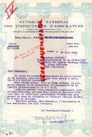 75- PARIS- 1942 RARE LETTRE SYNDICAT NATIONAL INSPECTEURS ASSURANCES-TRAVAILLEURS INTELLECTUELS-29 RUE LIEGE- - Banque & Assurance