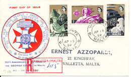 Malta Registered FDC 15-4-1959 17th Anniversary Of The Award Of The George Cross Complete Set With Cachet And Address - Malta