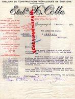 22- GUINGAMP- RARE LETTRE ETS. H. COLLE-ATELIERS CONSTRUCTIONS METALLIQUES BRETAGNE- BREST- LAMBEZELLEC-1936 SERRURERIE - Petits Métiers