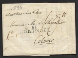 Haut Rhin-Lettre De Basle-Marque Linéaire 66 HUNINGUE-Pour Colmar - 1701-1800: Precursors XVIII