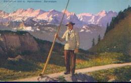 SUISSE – STANSERHORN 1900 M. « Alphornbläser.  Berneralpen » Ed. Goetz, Luzern (1925) - Switzerland
