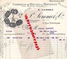 75- PARIS- FACTURE P. SOMMET -FABRIQUE MOULES ET MACHINES POUR PATISSIER-PATISSERIE -5 RUE DEBELLEYME-1936 - Petits Métiers